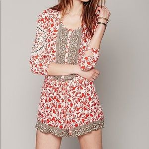 Coral and tan free people romper size S like new